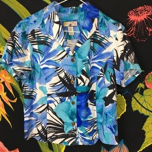 VINTAGE / Hawaiian Print Bamboo Button Blouse